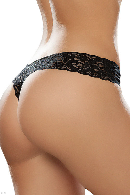 Black Paisley Lace G-String