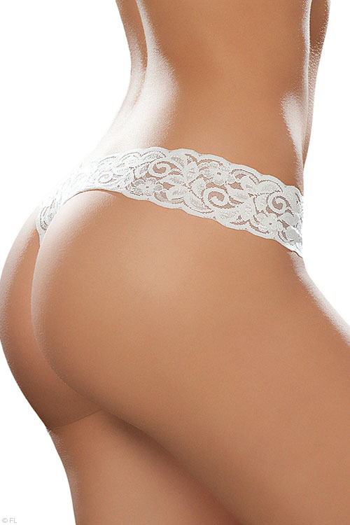 White Paisley Lace G-String