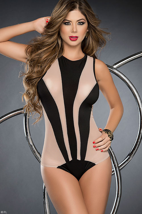 Lingerie - Mapale by Espiral Slinky, Sleek Stripes Bodysuit