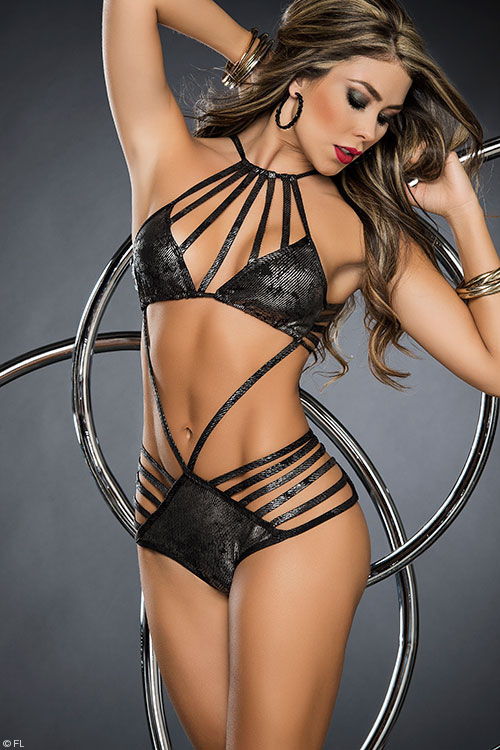 Lingerie - Mapale by Espiral Strappy Metallic Teddy