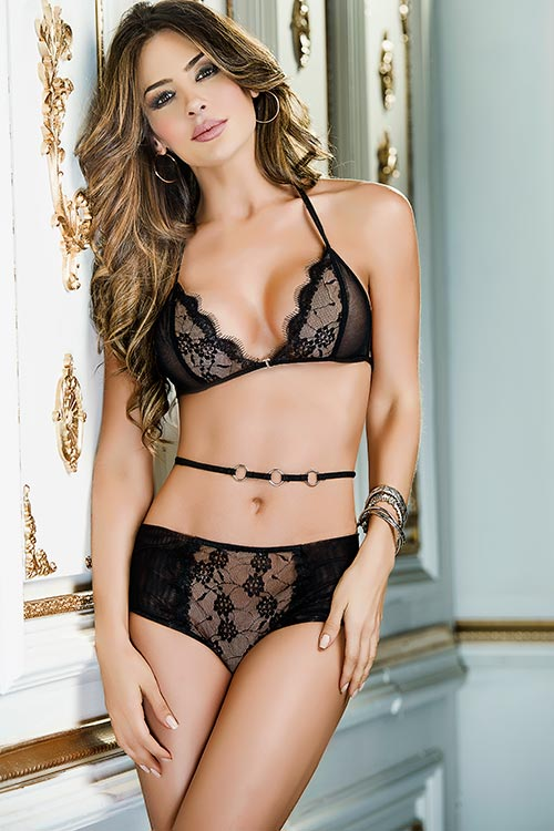 Lingerie - Mapale by Espiral Lace & Mesh Bra with Panty