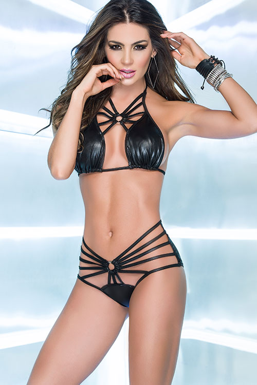 Lingerie - Mapale by Espiral Wet-Look Top with Strappy Panty