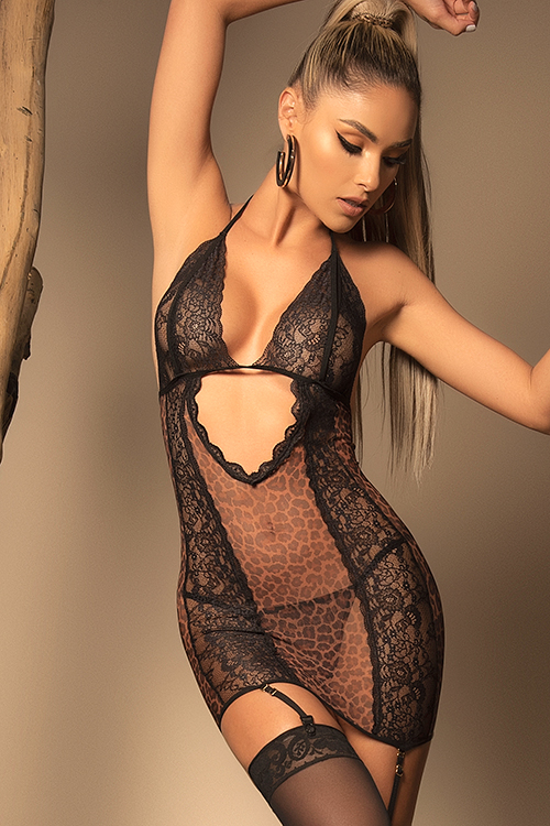 Natural Instinct Leopard & Lace Chemise with G-String