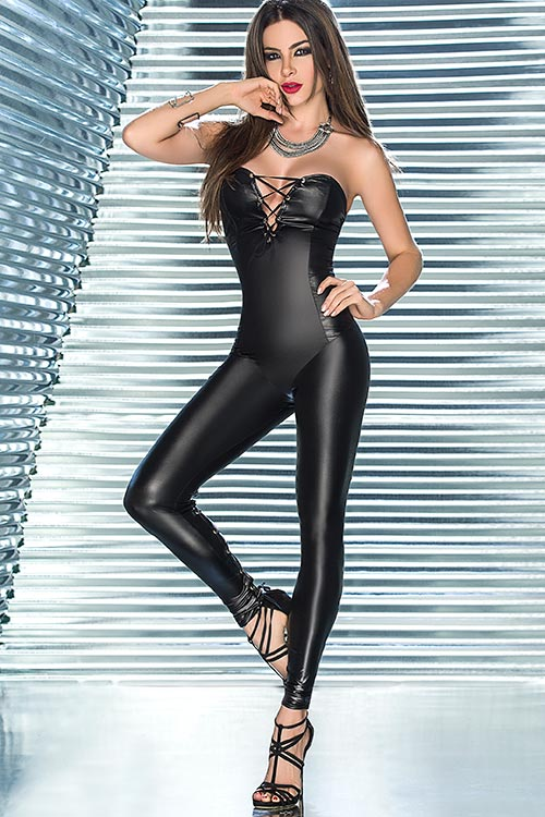 Lingerie - Mapale by Espiral Wet Look Jumpsuit with Rear Leg Lacing