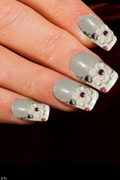 Eye Candy White Rose on  Transparent Glitter Nail Kit