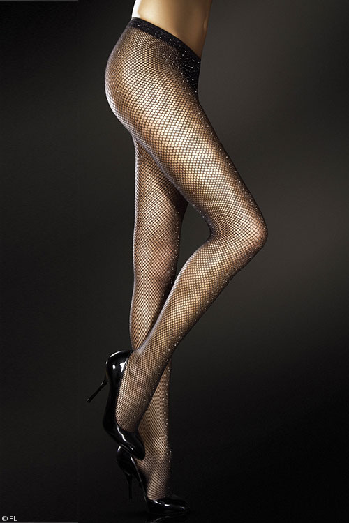 Lingerie - Fiore Calypso Fishnet Pantyhose with Metallic Yarn
