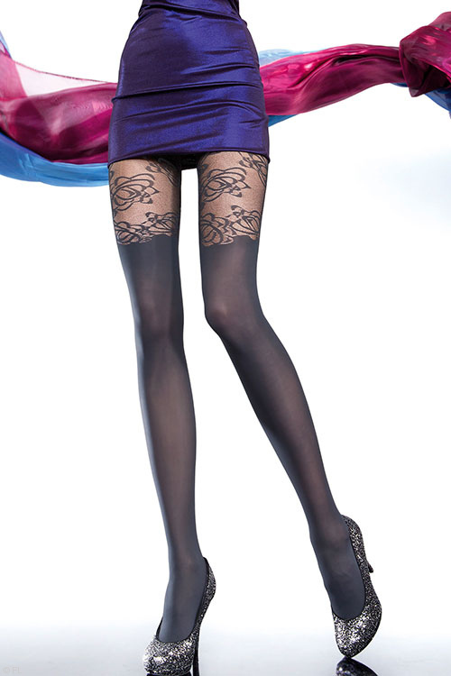 Lingerie - Fiore Mirona Patterned Pantyhose