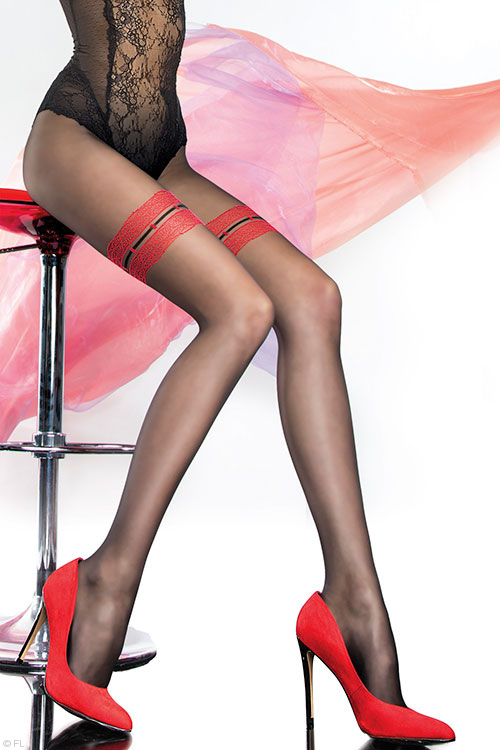 Lingerie - Fiore Olbia Patterned Pantyhose in Black & Natural