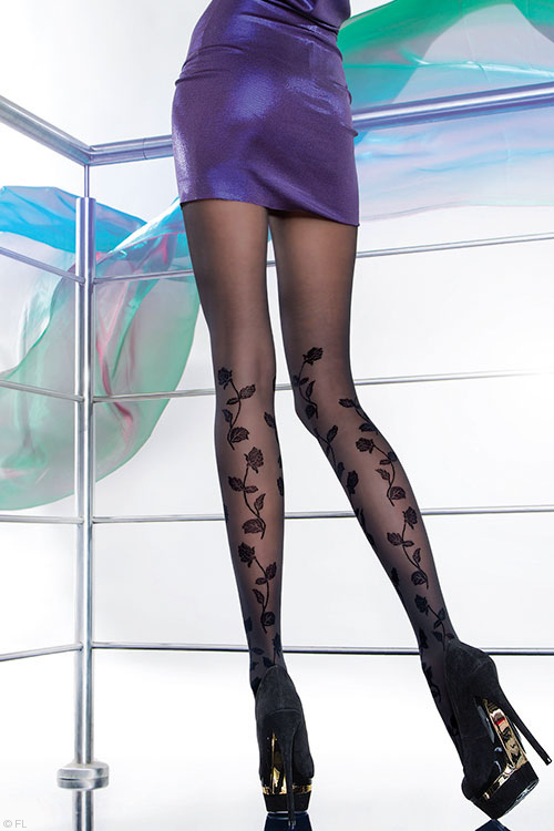 Lingerie - Fiore Poema Patterned Pantyhose