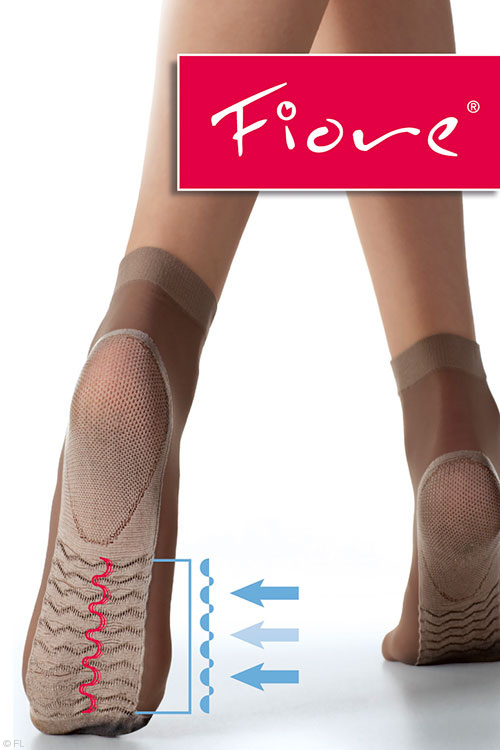 Lingerie - Fiore Socks with Foot Massage Effect in Black & Tan