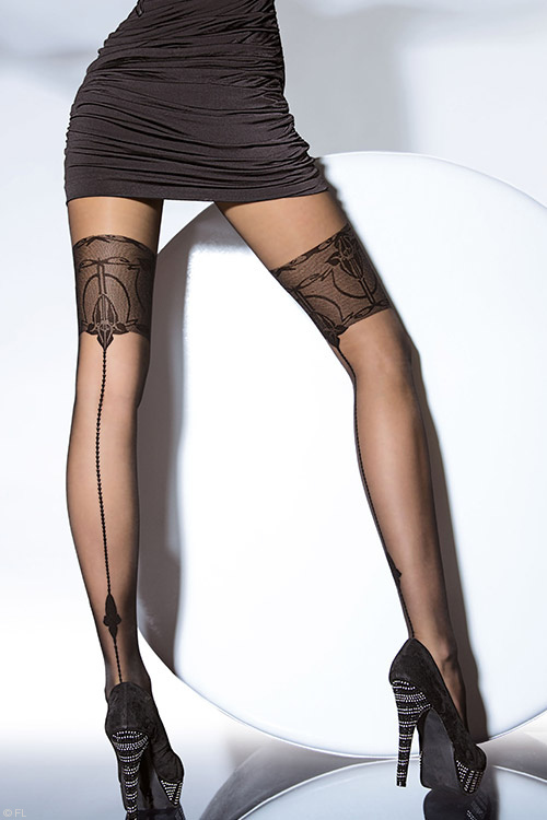 Lingerie - Fiore Liberta Pantyhose in Black, Linen & Steel