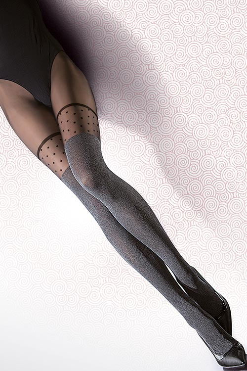Lingerie - Fiore Faux Suspender Look Pantyhose