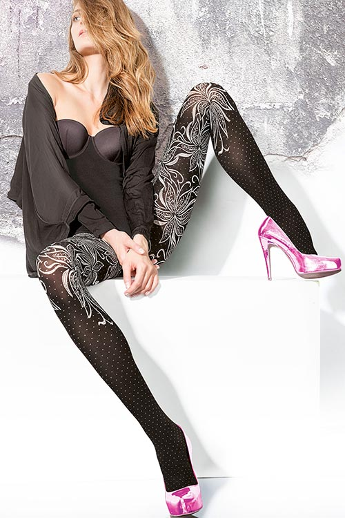 Lingerie - Fiore Luxurious Patterned Pantyhose