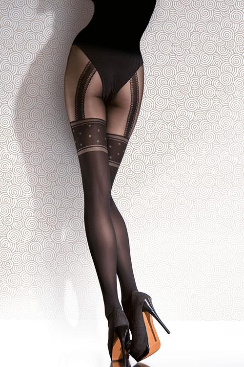 Lingerie - Fiore Faux Suspender Look Pantyhose