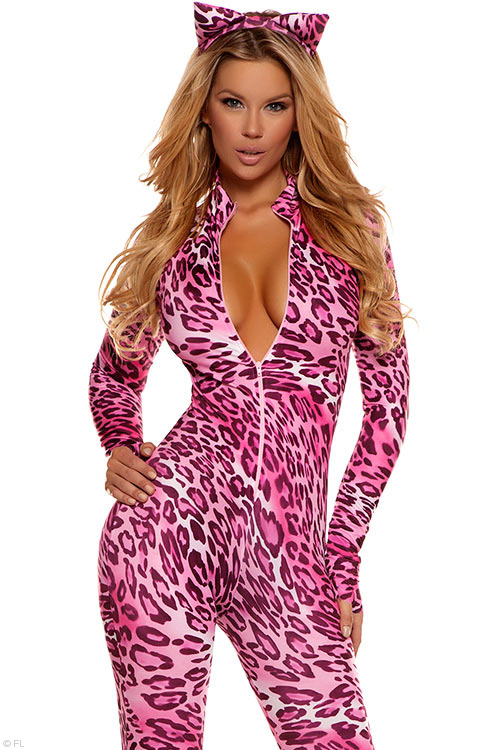 Costumes - Forplay Lingerie Pink Purrrfection Bodysuit