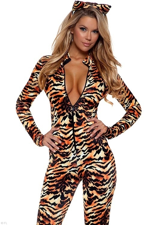 Costumes - Forplay Lingerie Seductive Stripes Tiger Bodysuit