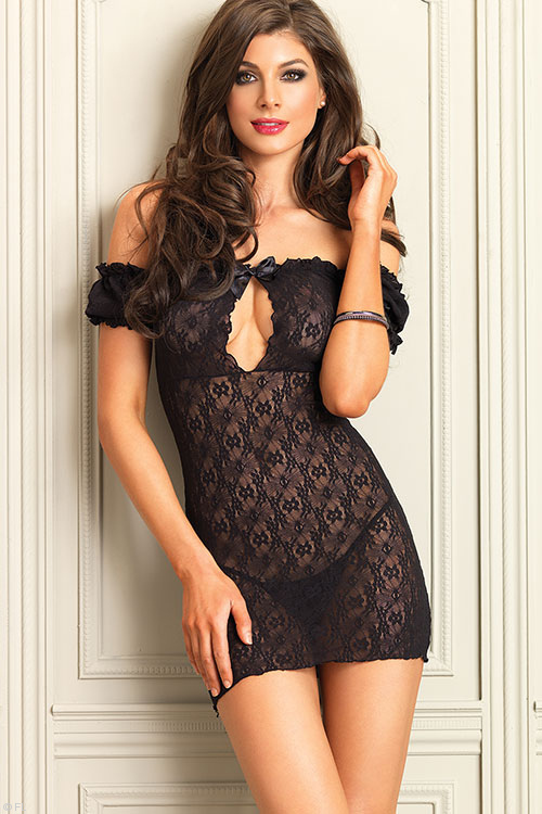 Lingerie - Leg Avenue Off-The-Shoulder Lace Chemise