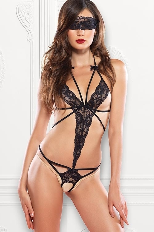 Lingerie - Leg Avenue Strappy Lace Teddy with Blindfold