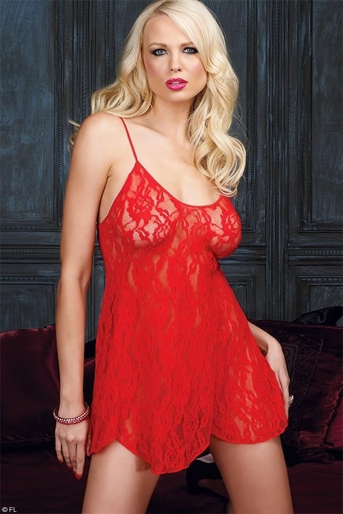 Lingerie - Leg Avenue Lace Babydoll with G-String
