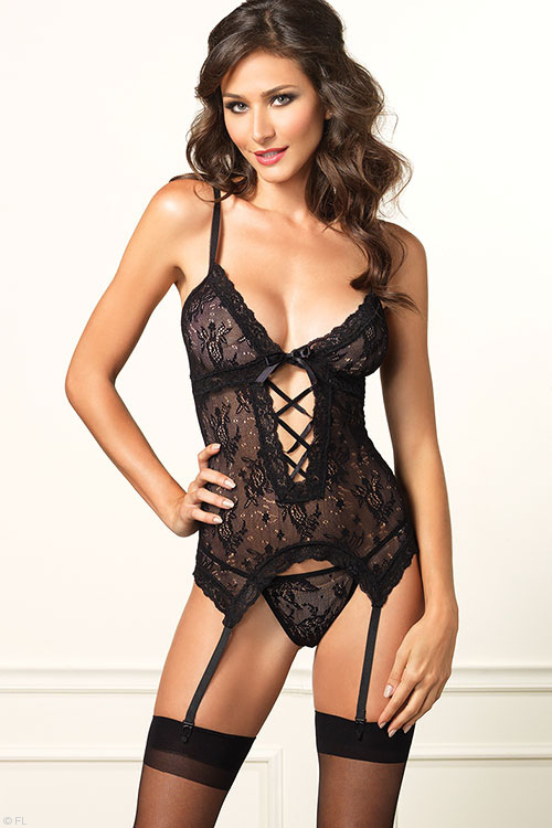 Lingerie - Leg Avenue Lace Bustier with Thong