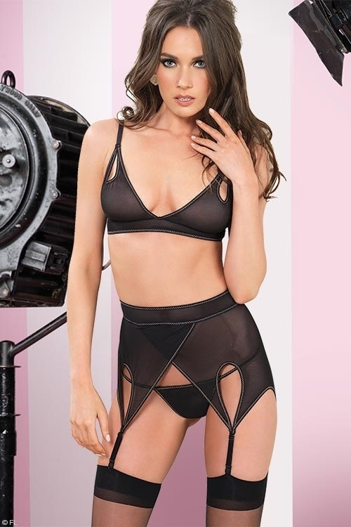 Lingerie - Leg Avenue Statement Bra with Garter Belt & G-Thong