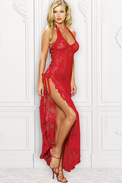 Lingerie - Leg Avenue Long Lace Gown with G-String