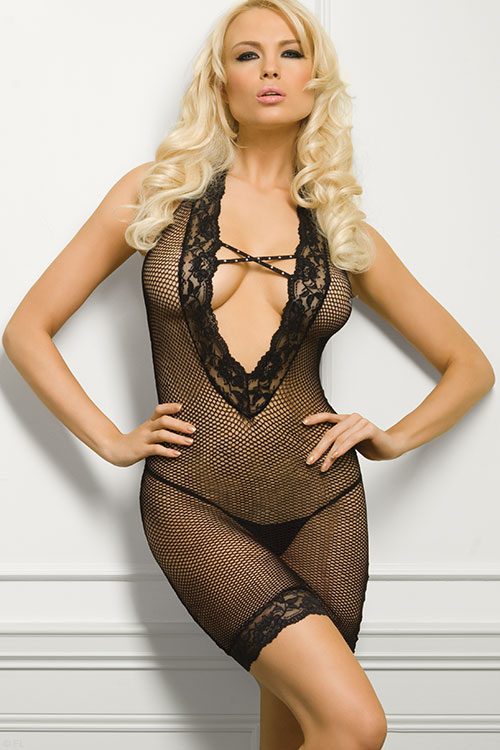 Lingerie - Leg Avenue Fishnet Bodystocking with Thong