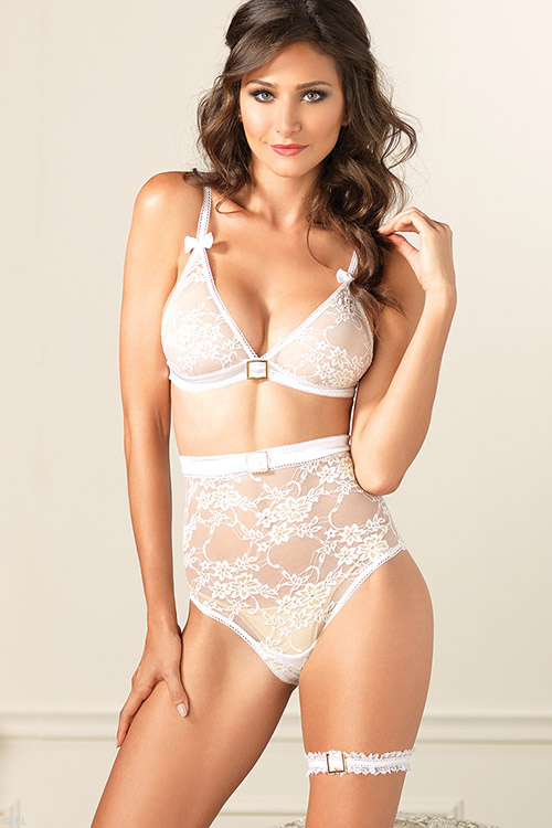 Lingerie - Leg Avenue Lace Bra with High Waisted Panty & Garter