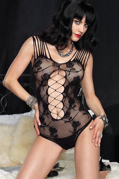 Lingerie - Leg Avenue Bodystocking Teddy with Open Crotch