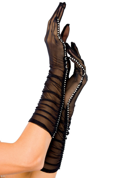 Lingerie - Leg Avenue Sheer Gloves with Rhinestones