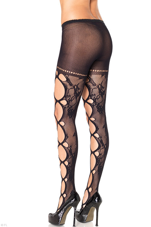 Lingerie - Leg Avenue Floral Lace Pantyhose with Giant Cut-Outs