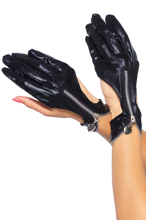 Lingerie - Leg Avenue Leather Look Zip Up Gloves