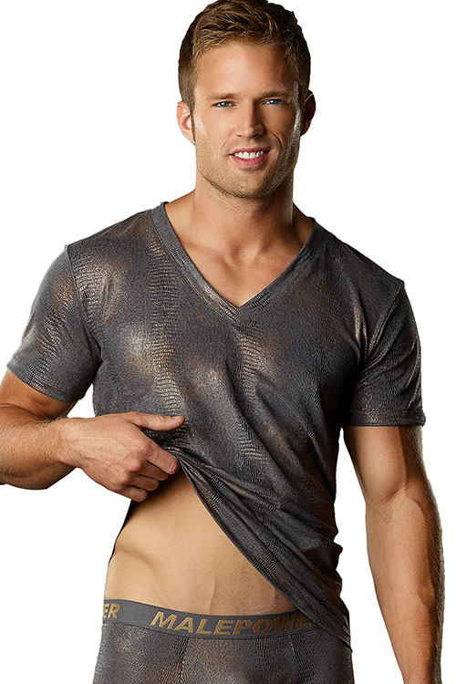 Lingerie - Male Power Croc Foil V Neck T-Shirt