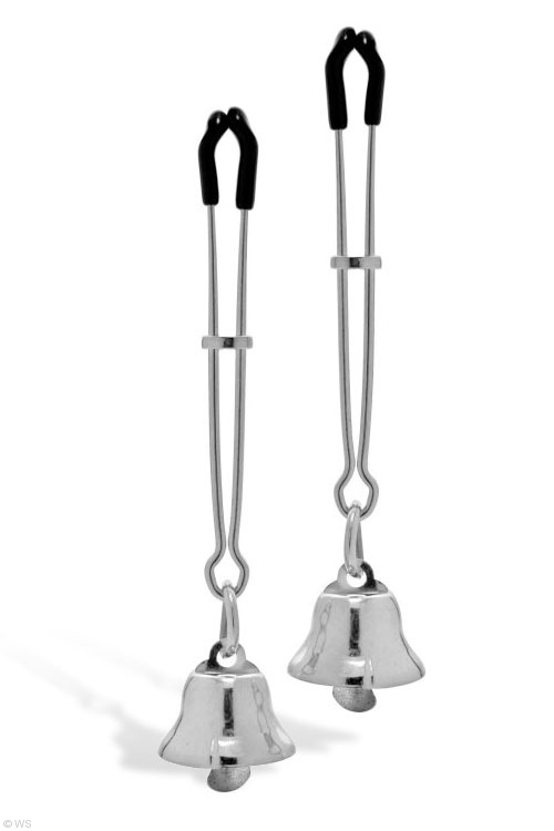 Bondage - Master Series Adjustable Nipple Clamps with Bells