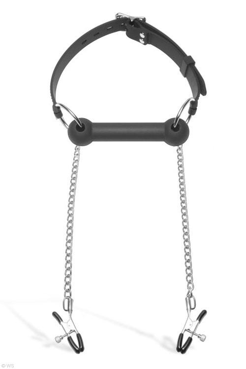 Bondage - Master Series Bit Gag with Nipple Clamps
