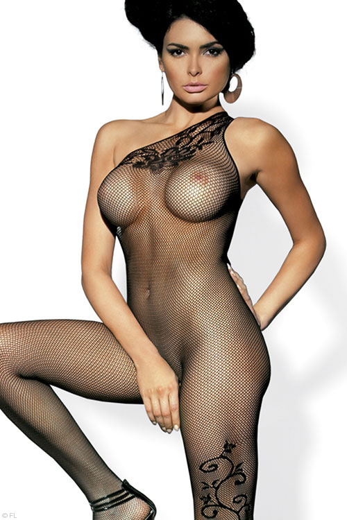 Lingerie - Obsessive Fishnet Bodystocking with Open Crotch