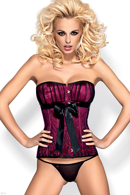 Lingerie - Obsessive Rubines Corset with Thong