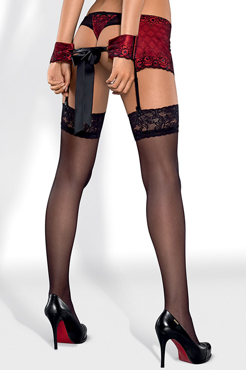 Lingerie - Obsessive Sheer Thigh Highs with Lace Top