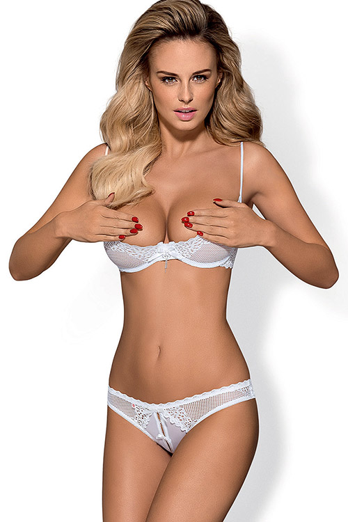 Lingerie - Obsessive Alabastra Open Cup Bra with Open Crotch Panty
