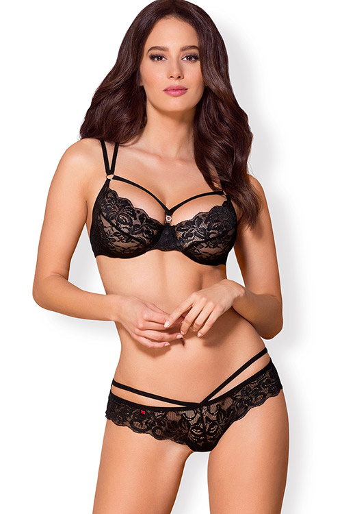 Rosabelle Black Scalloped Lace Bra with Thong