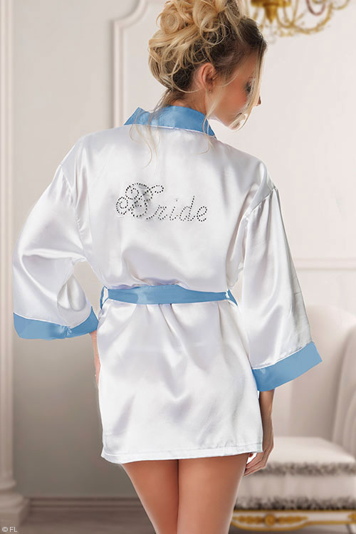 Lingerie - Oh La La Cheri Bridal Robe inscribed with 'Bride'