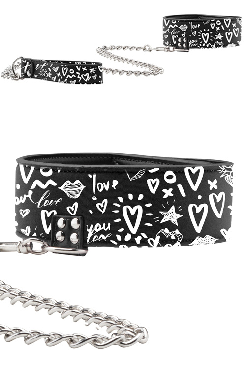 Graffiti Leather Collar with Chain Leash