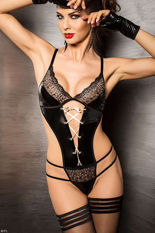 Lingerie - Passion Agawa Satin with Lace Teddy