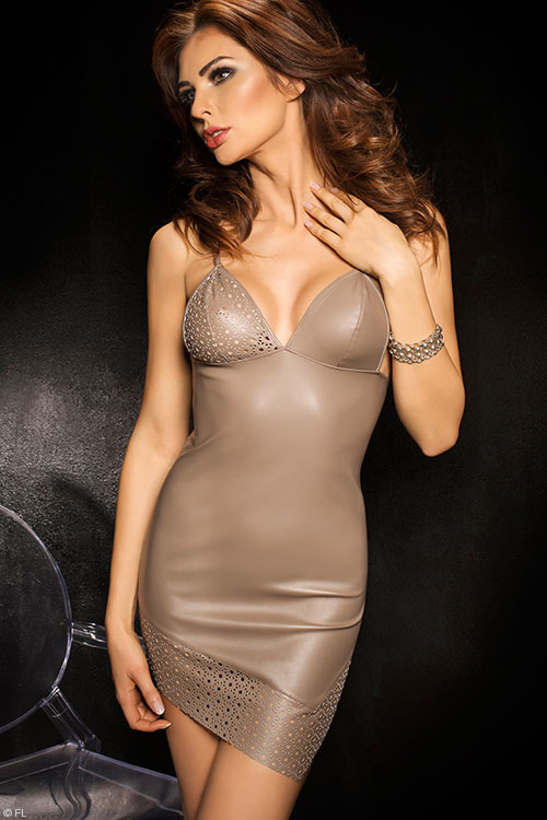 Lingerie - Passion Roca Faux Leather Chemise with Thong