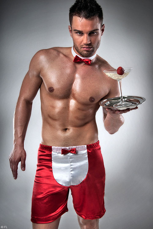 Costumes - Passion At Your Service Satin Boxer with Bow Tie