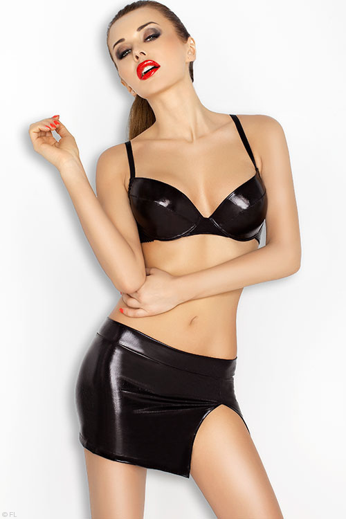 Lingerie - Passion Erotic Neddy Sleek Wet Look 3 Pce Bra Set