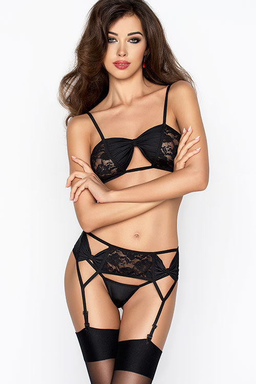 Lingerie - Passion Erotic Aura Bra with Garter & Thong