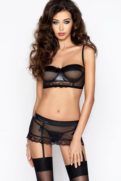 Lingerie - Passion Erotic Canne Bra with Garter Belt & Thong