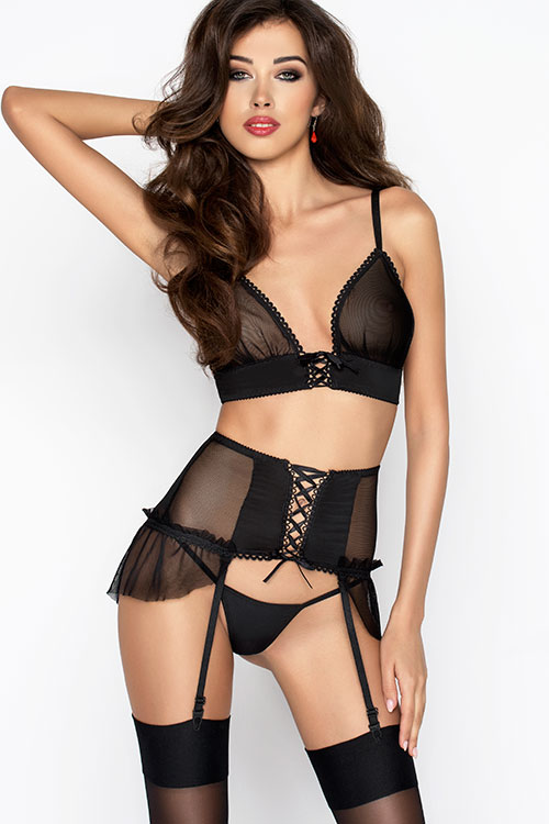 Lingerie - Passion Erotic Romana Bra with Garter Belt & Thong