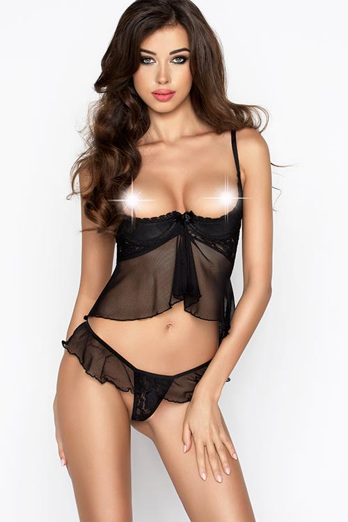 Lingerie - Passion Erotic Lauren Flirty Top with Thong
